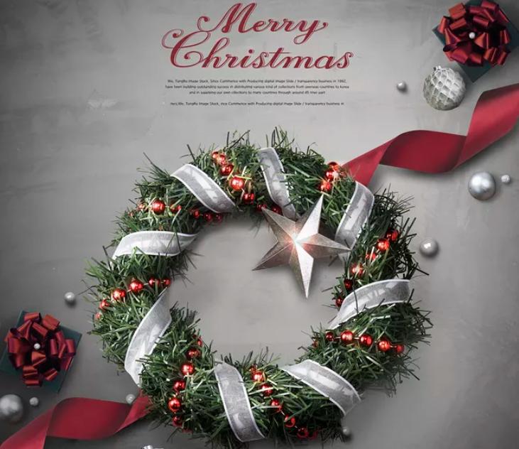 圣诞节的冬青花环钢琴谱