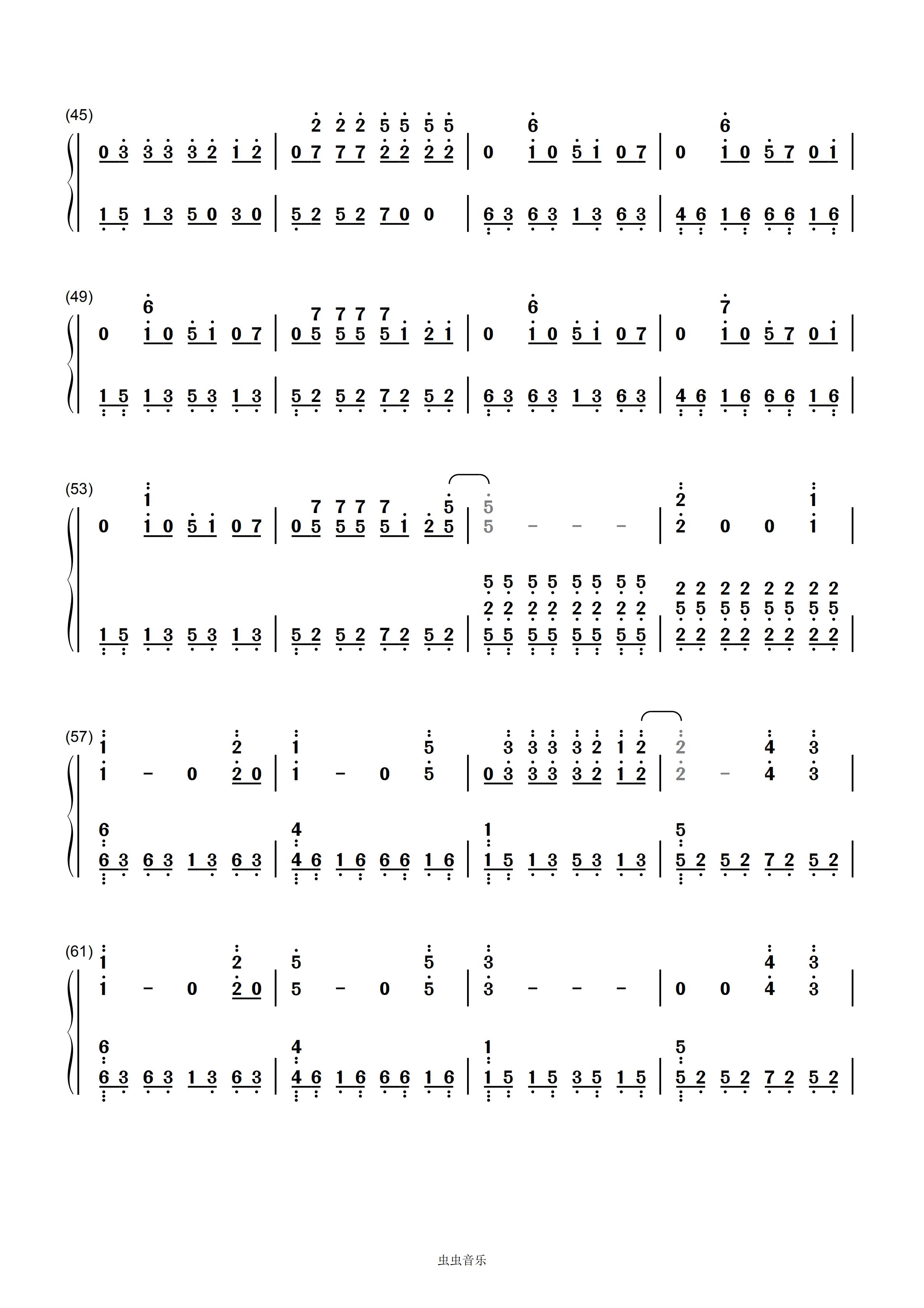 5线谱曲谱