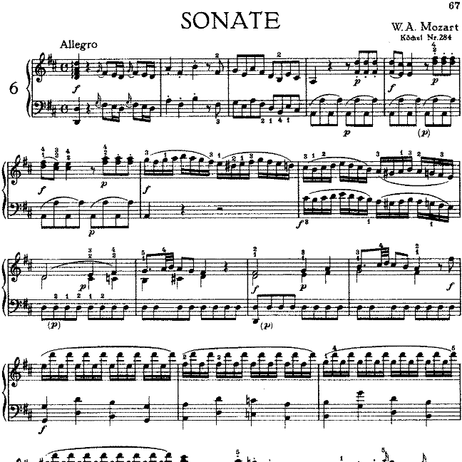 Sonata in D Major No.6 K.284钢琴谱