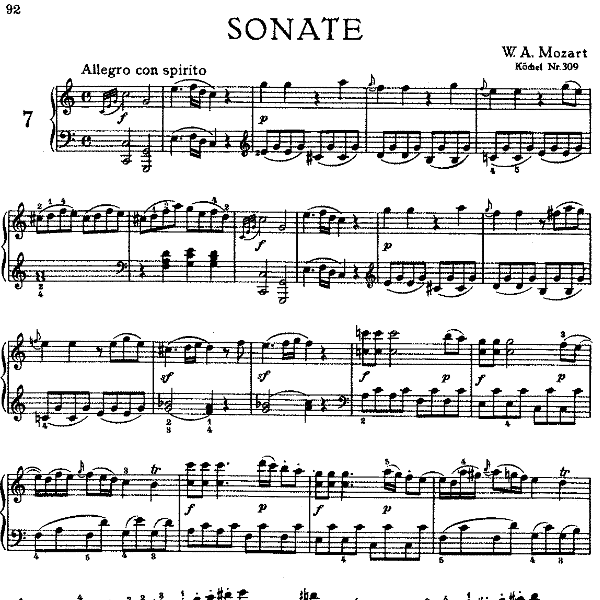 Sonata in C Major No.7 K.309钢琴谱