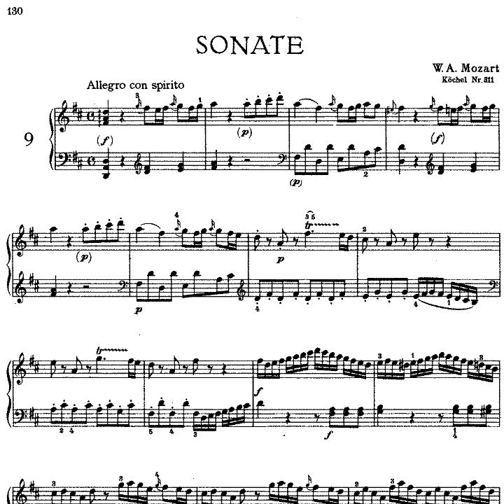 Sonata in D Major No.9 K.311钢琴谱