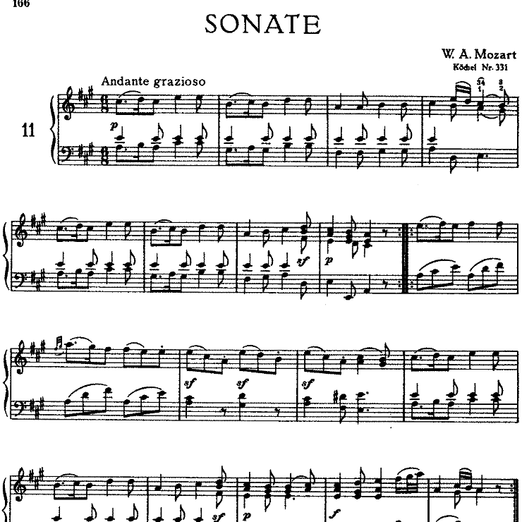 Sonata in A Major No.11 K.331钢琴谱