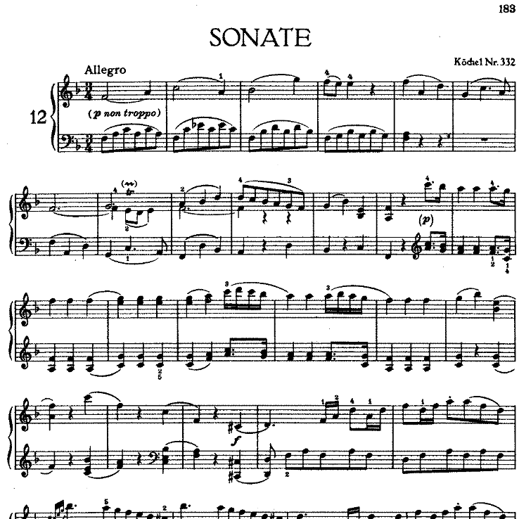 Sonata in F Major No.12 K.332钢琴谱