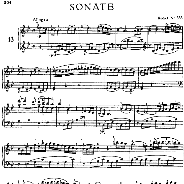 Sonata in bB Major No.13 K.333钢琴谱