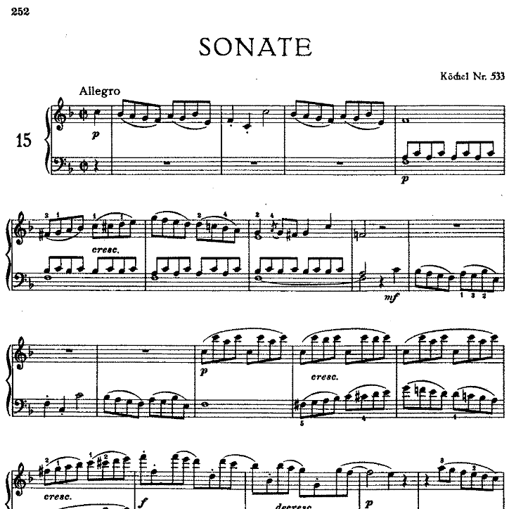 Sonata in F Major No.15 K.533钢琴谱