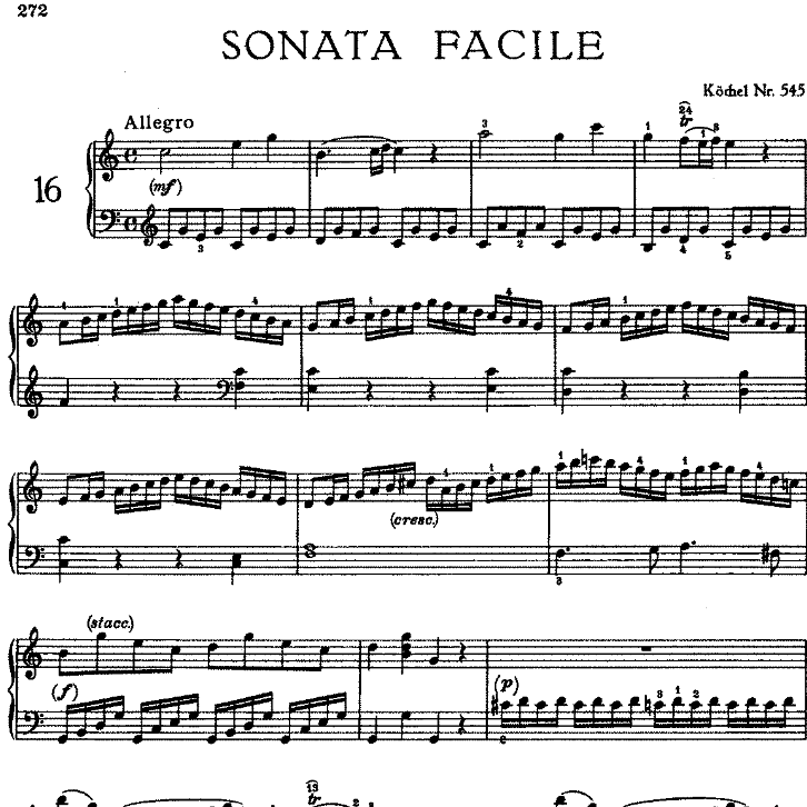 Sonata in C Major No.16 K.545钢琴谱