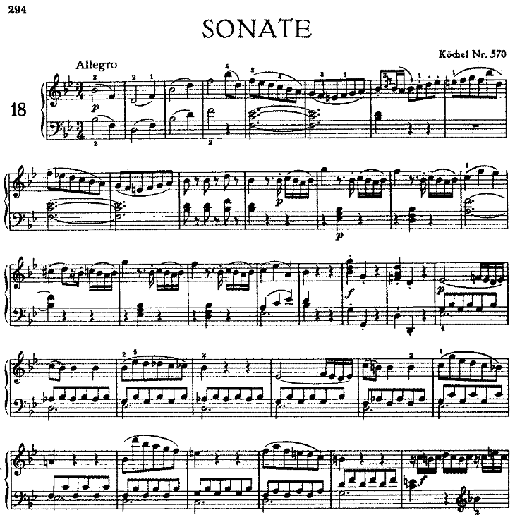 Sonata in bB Major No.17 K.570钢琴谱