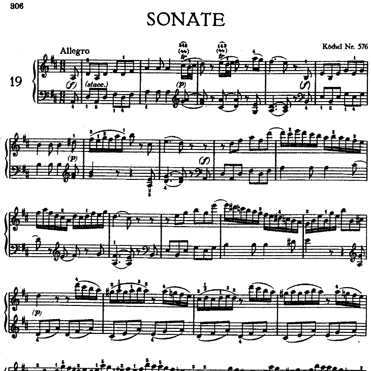 Sonata in D Major No.18 K.576钢琴谱